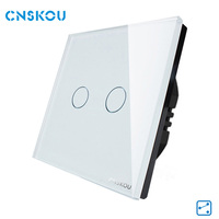 Hot Sale EU Standard Touch Switch 2Gang 2Way Control Touch Switches White Crystal Glass Panel Wall