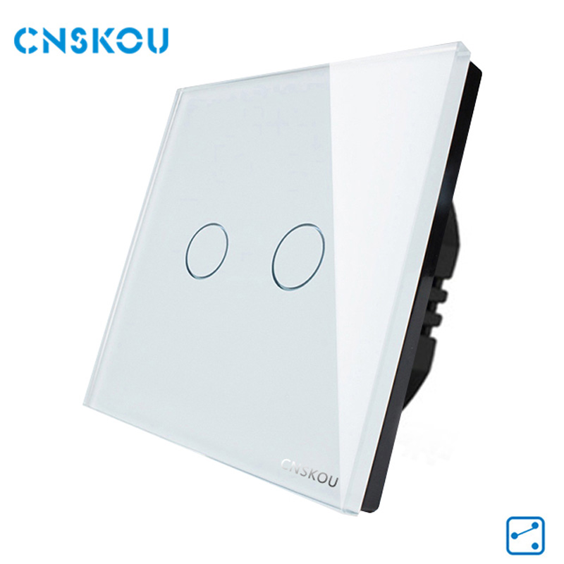 Touch Switch, EU Standard 2Gang 2Way,Remote Control Switches,White Crystal Glass Panel Wall Light Switch,CSNKOU Manufacturer smart home eu touch switch wireless remote control wall touch switch 3 gang 1 way white crystal glass panel waterproof power
