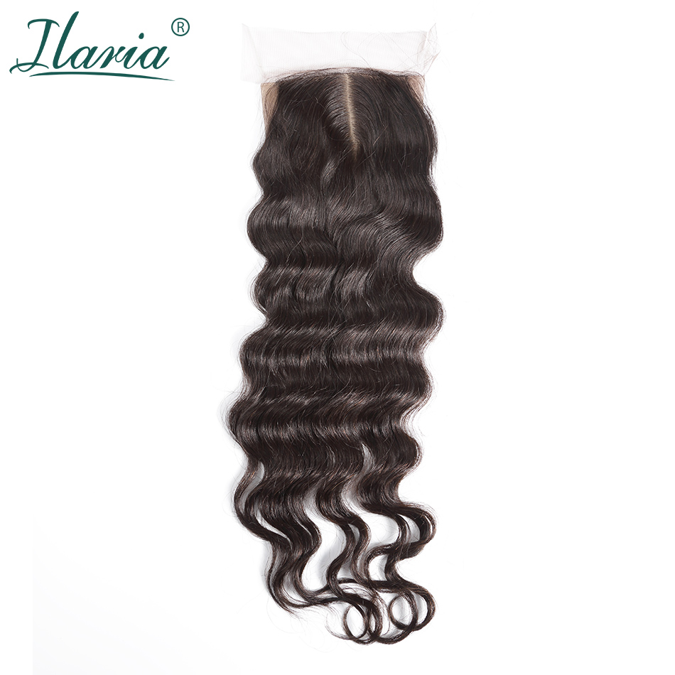 ILARIA HAIR Brazilian Human Hair Silk Base Closure Loose Wave 4x4 With Baby Hair Bleached Knots