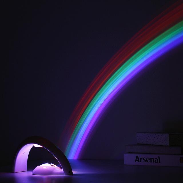 2017 Año Nuevo gfift Novedad LLEVÓ la Luz de La Noche de Colores Del Arco Iris Cielo Romántico Rainbow Proyector Lámpara luminaria Casa Decoración de La Habitación