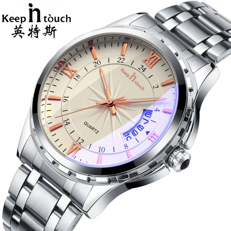 KEEP IN TOUCH Luxury Brand Fashion Men's Watch Luminous Casual Men Quartz Watches Double Calendar Male Clock relogio masculino keep in touch hand clock men watch luxury calendar black quartz mens wristwatches brand fashion luminous erkek kol saati