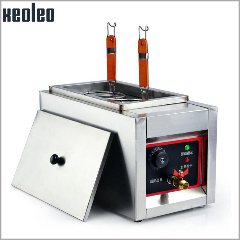 XEOLEO Double Baskets Pasta cooker 2KW Noodle machine Counter top Electric Noodle cooker Stainless steel Cook noodles machine vosoco commercial electric pasta cooker electric noodle machine 2000w stainless steel pasta boiler cooker electric heating furna