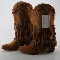 Винтажные осенне зимние сапоги на высоком массивном каблуке, женские замшевые сапоги до середины икры с бахромой, bota feminina, красные, черные к