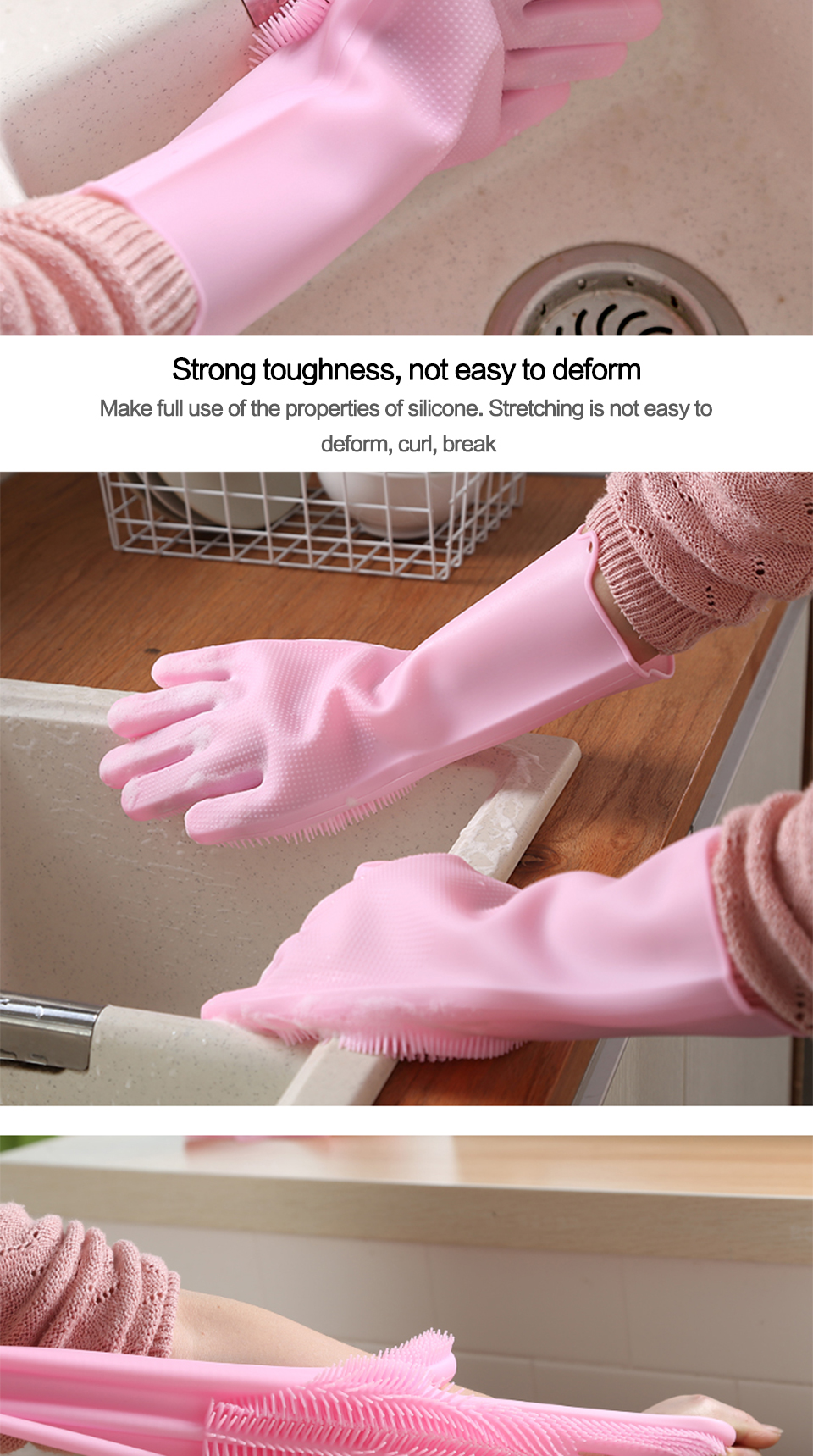 SILIKOLOVE Magic Silicone Dish washing Gloves kitchen accessories Dishwashing Glove Household Tools for Cleaning Car Pet Care Hair Grooming Brush_05