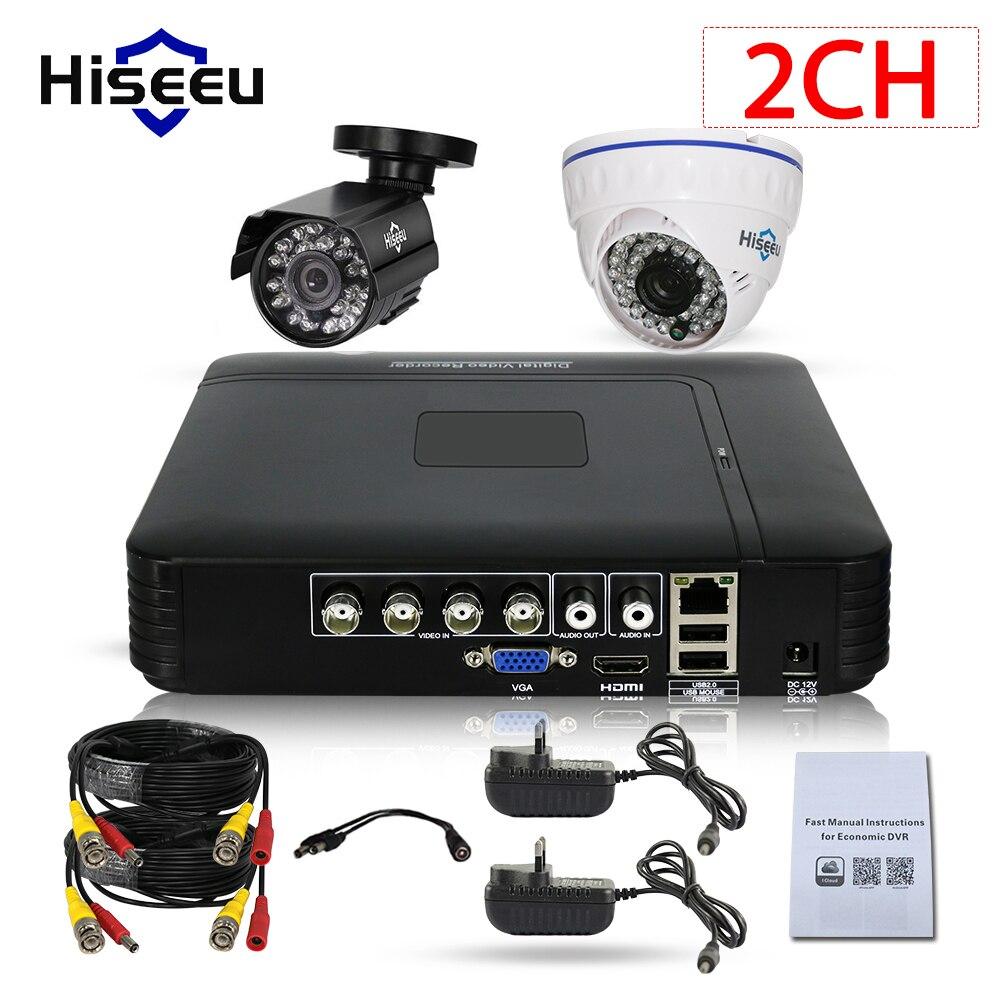 Hiseeu HD 1080N 5in1 AHD DVR Kit CCTV System 2PCS 720P AHD waterproof/dome Bullet IR Camera P2P Security Surveillance Set annke 8ch 720p 1500tvl cctv system 8pcs 720p ir outdoor security cameras 8ch 1080n 4in1 dvr kit cctv surveillance system