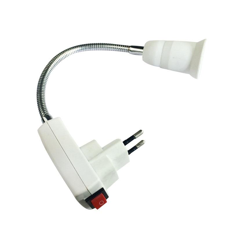 E27 Flexible Extend Extension LED Light Bulb Lamp Base Holder Screw Socket Adapter Converter EU Plug