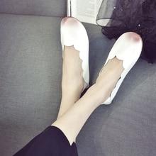 2016 spring autumn girls Flats PU Leather-based doug Slip on girls's boat Idler Footwear spherical toe low assist Flats Tender Lazy Footwear