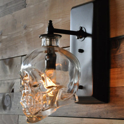 Loft personality water pipe Skull bar wall lamp modern outdoor retro wind glass lampshare wall lamps aisle ZL195 цена