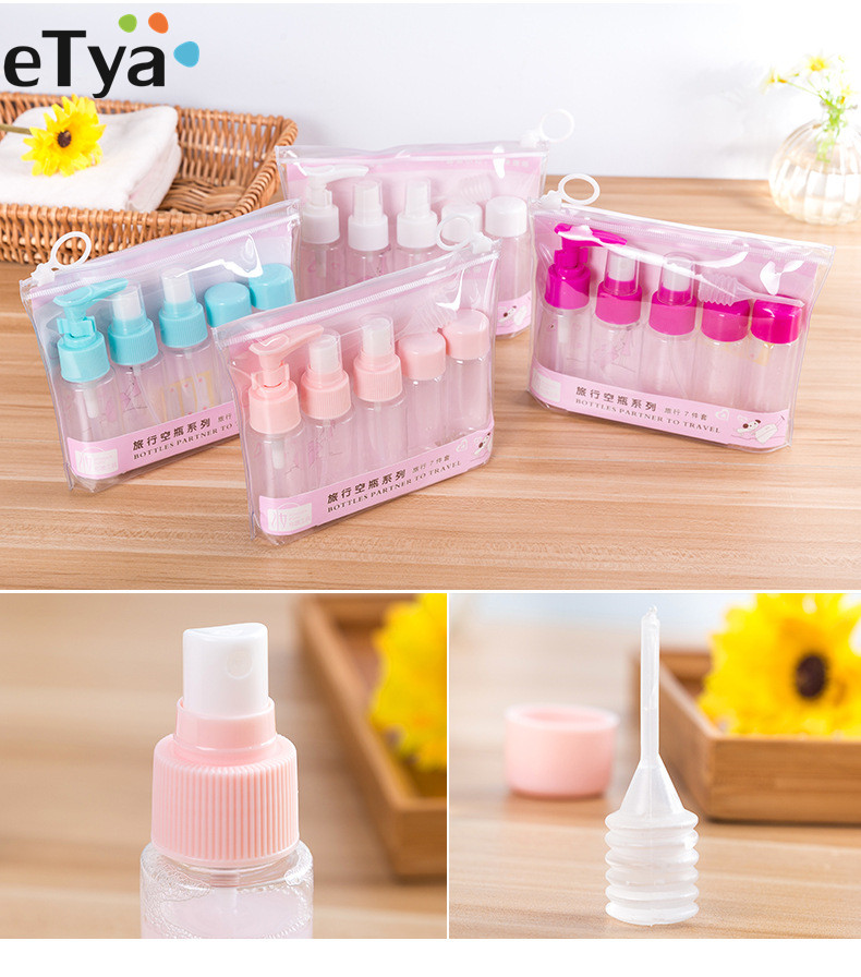 ETya Travel Packing Bag For Lotion Shampoo Face Cream Cosmetic Bath Container Empty Makeup Cosmetic Bottles  Travel Accessories