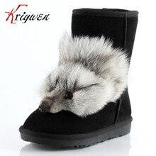 Más el tamaño 34-43 de cuero Real de la vaca suede Mujeres Calientes de La Manera de Mitad de la Pantorrilla Botas de Nieve Zapatos de Invierno Mujer Zapatos Mujer Botas Femininas