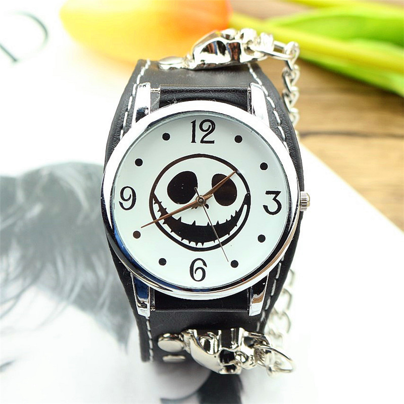 New Fashion Unisex Bracelet Retro Wristwatches High Quality Teenager Skull Dial Punk And Rock Leather Watch Men Halloween Gift