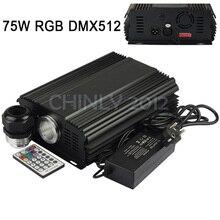 Dmx 75 Вт RGB из светодиодов волоконно-оптический машиниста + 28key рф пульт дистанционного управления для всех видов волоконной оптики