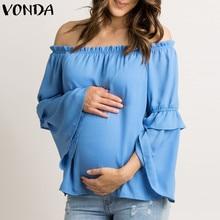 VONDA Maternity 2020 Summer Autumn Pregnancy Women Chiffon Shirt Sexy Off Shoulder Slash Neck Casual Loose Tees Tops Plus Size