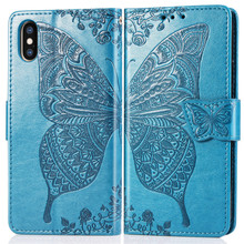 Embossing Butterfly Leather wallet flip phone covers for Apple iPhone 6 cases for iphone X XR XS max 8 7 plus 6 6s plus case цена 2017