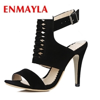 ENMAYLA 2018 New High Quality Flock Gladiator Women Sandals Open Toe High Heels Party Wedding Shoes