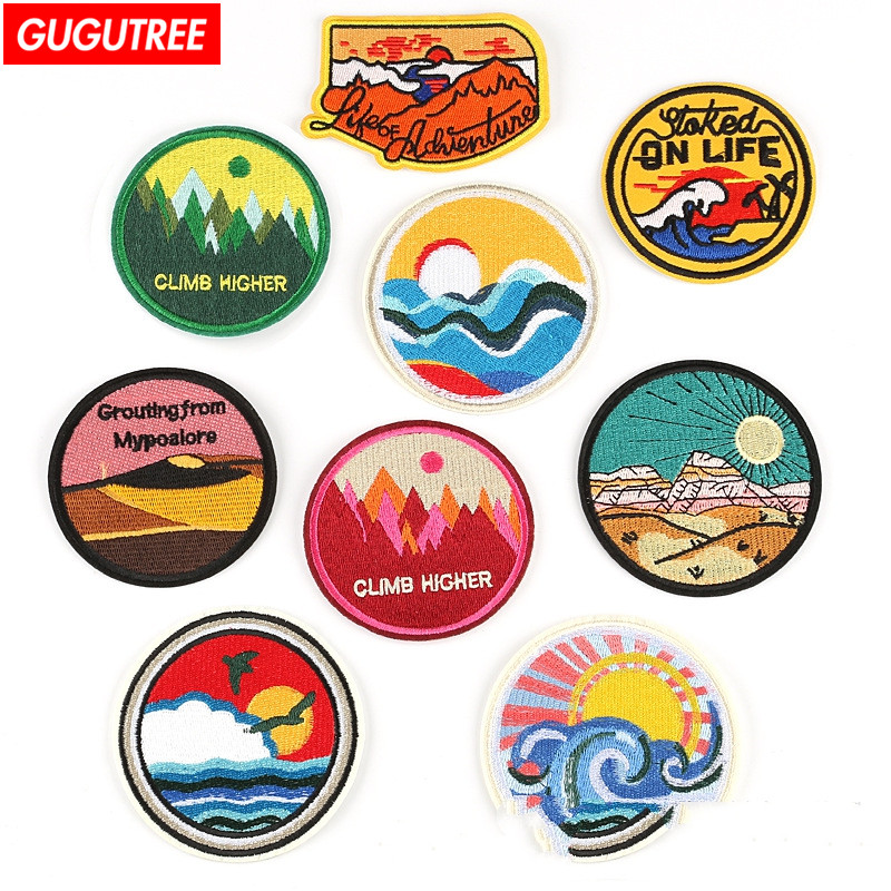 GUGUTREE embroidery round circle badges patches,embroidered appliques for denim jeans circle