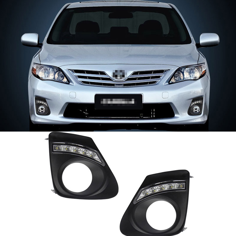 For Toyota Corolla 2011-2013 2pcs LED DRL Daytime Running Lights with Yellow Turning Signal