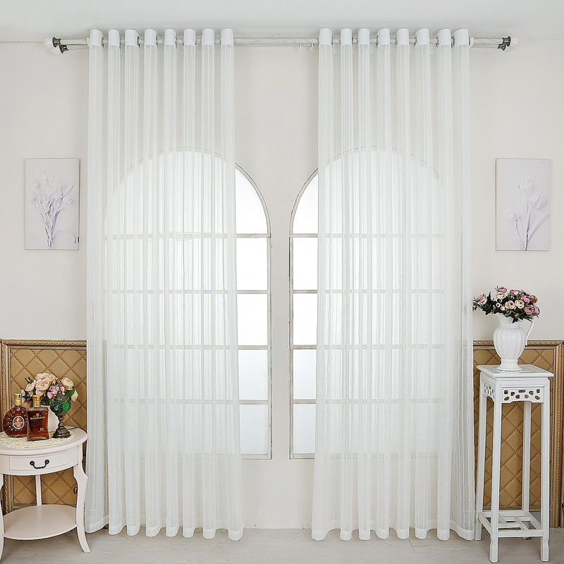Sheer Curtains Voile Striped Jacquard Kitchen Window Decoration ...