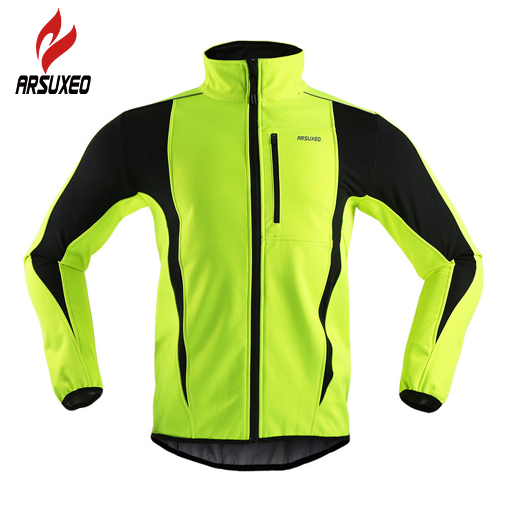 ARSUXEO MTB Mountain Bike Jacket Winter Warm Up Thermal Cycling Jacket Bicycle Clothing Windproof Waterproof Jersey цена