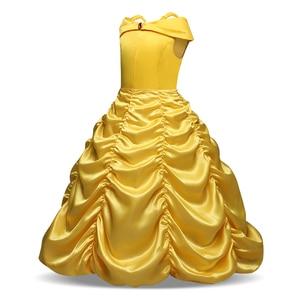 Image 3 - Schoonheid En Het Beest Belle Princess Dress Belle Cosplay Kostuum Kids Jurk Voor Meisjes Party Verjaardag Magische Stok Meisjes Clothings