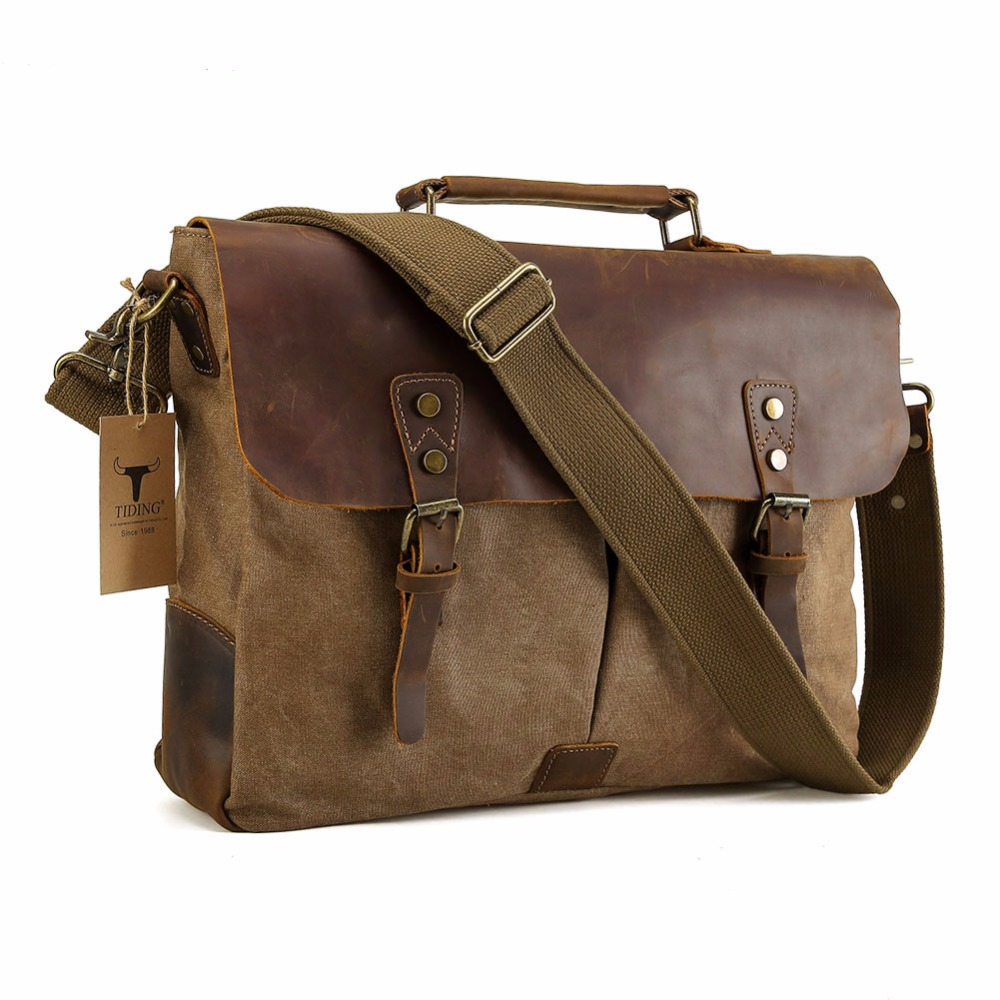 "TIDING Men Canvas Leather Tote 15.6"" Laptop Bags Hobo ..."