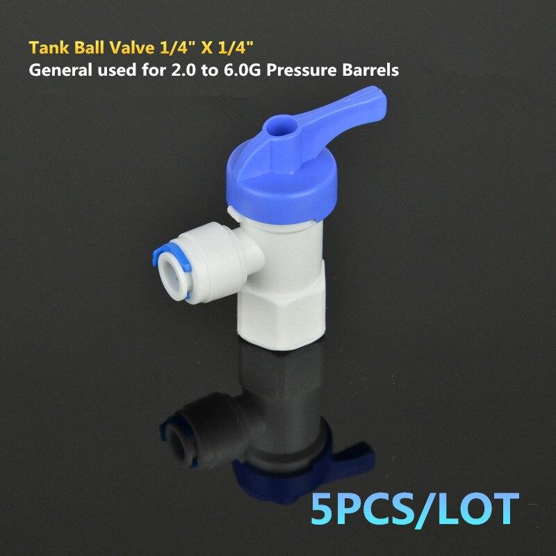 "Tank Ball Valve 1/4"" Fnpt Female Thread X 1/4"" Tube Quick Connect Shut Off For Ro Water Pressure Barrel"