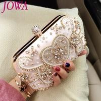 2017 New Design Women S Evening Bags Ladies Diamonds Handbags Pearl Heart Mini Clutch Wedding Party