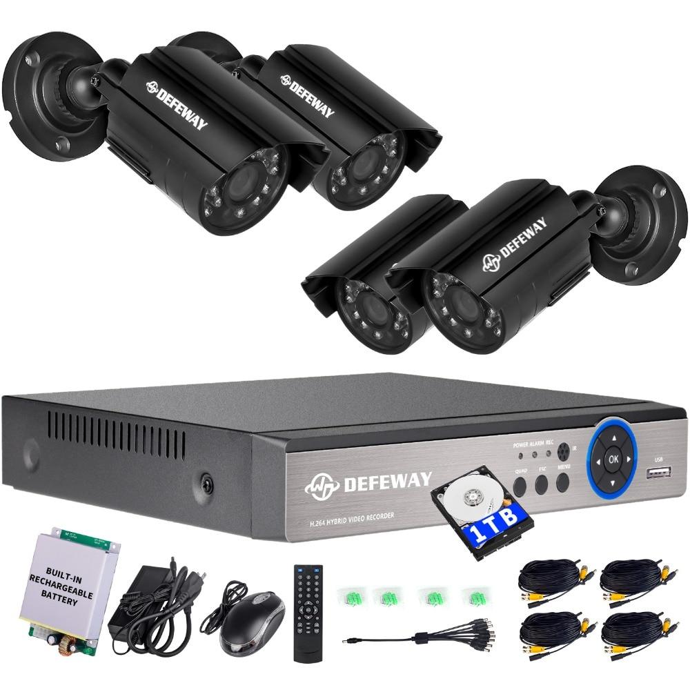DEFEWAY 8CH 1200TVL 720P HD CCTV Security Camera System 1080N Home Video Surveillance DVR Kit 1TB