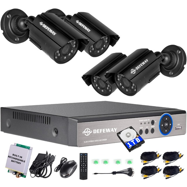 DEFEWAY 8CH 1200TVL 720P HD CCTV Security Camera System 1080N Home Video Surveillance DVR Kit 1TB with Rechargerable Battery