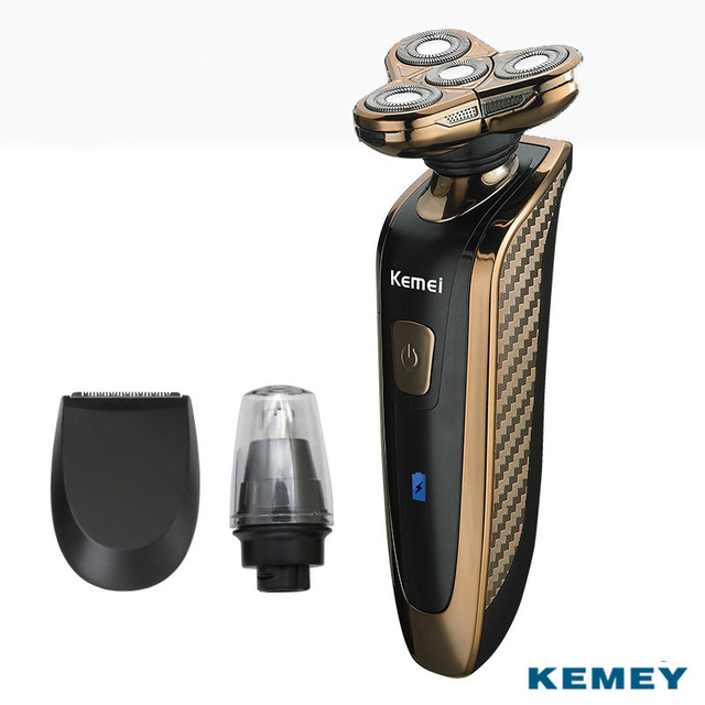 Kemei New 3 in 1 4D Floating Heads Rechargeable Electric Shaver for Men Waterproof Shaver