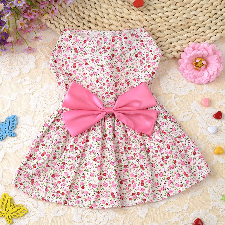 Cute Dog Dress Summer Soft Cotton Printing Bow Pet Puppy Clothes 5