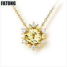 925 sterling silver fashion natural rose quartz citrine necklace jewelry female. J048