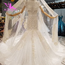 AIJINGYU sukienki na wesele Couture suknie ślubne 2021 2020 jedwab krótki Top turcja Indian długi pociąg suknia ślubna w stylu Vintage