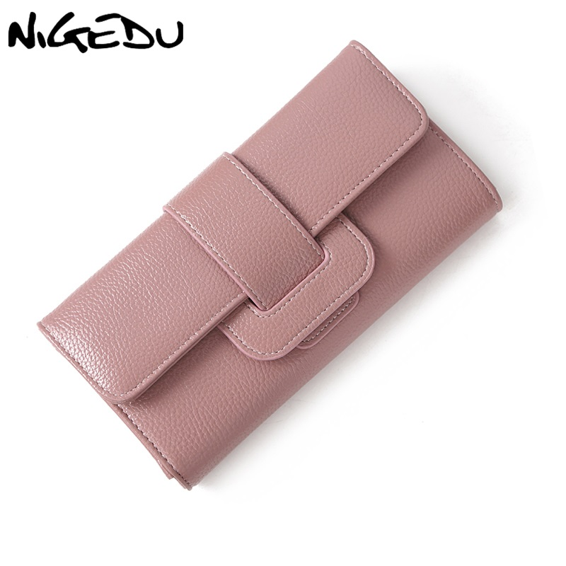 NIGEDU brand design Women Long Wallet Fashion PU Leather Wallets Female Coin Zipper Clutch purse For Girl notecase money clip women fashion leather hasp tri folds wallet portable multifunction long change purse hot female pink coin zipper clutch for girl