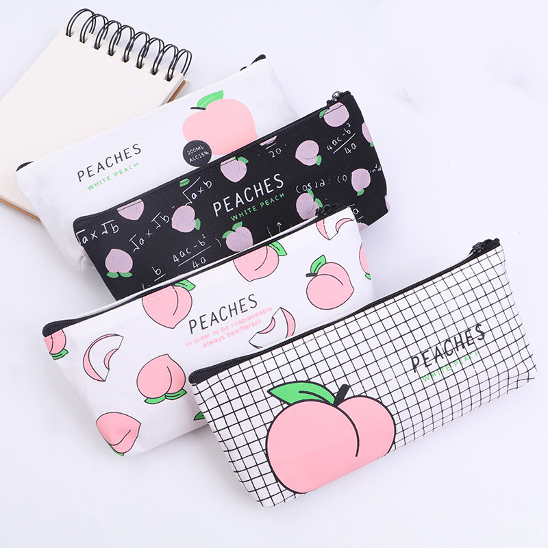 Cute Peaches Canvas School Pencil Cases Stationery Pencil Bag Girls PencilCase For School