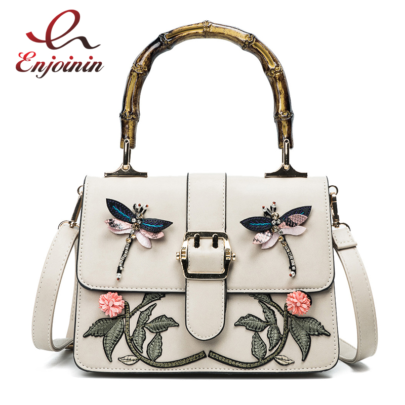 New fashion embroidery flower animal pattern bamboo handle pu leather female totes shoulder bag handbag crossbody messenger bag new style pu leather flower pattern