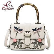 New fashion embroidery flower animal pattern bamboo handle pu leather female totes shoulder bag handbag crossbody messenger bag