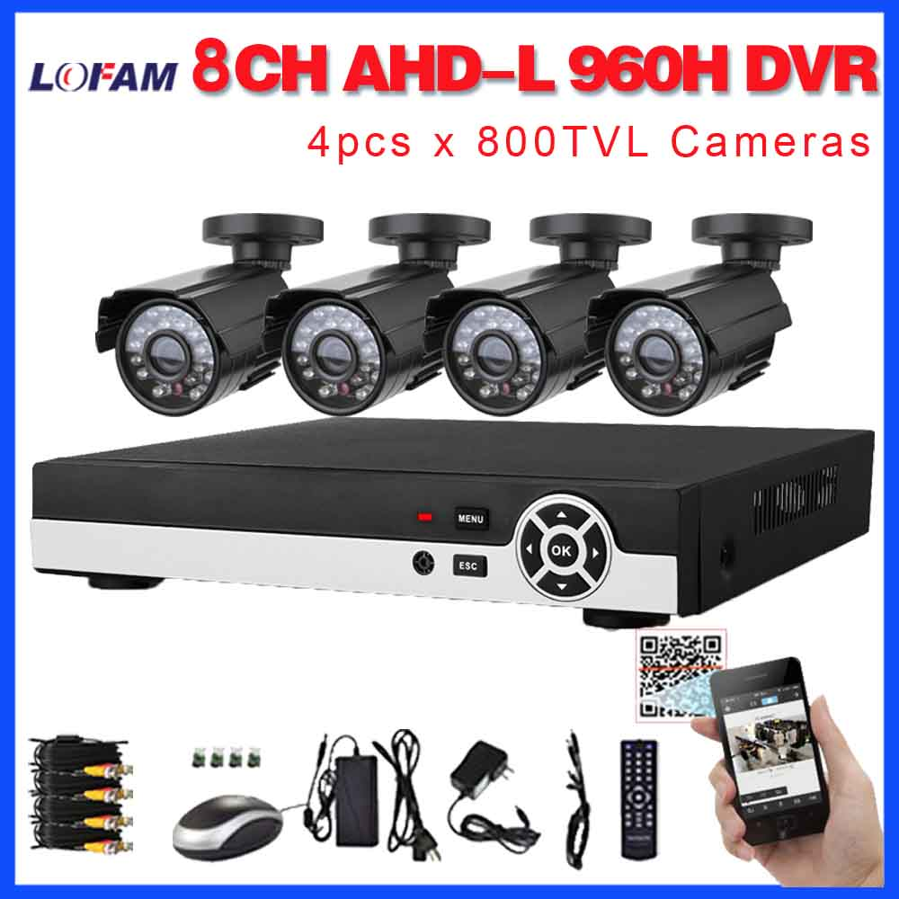LOFAM Camera Kit 8CH 960H NVR DVR CCTV Set 4CH Security Outdoor Waterproof Night Vision Cameras