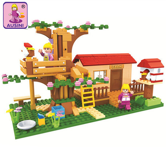 AUSINI 319PCS DIY Princess Rural Cabin Building Blocks SET Happy Farm Girl Gift Kids DIY Educational Bricks Toys For Children