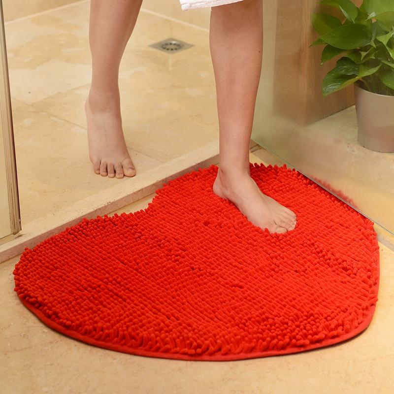 Heart Shaped Fluffy Bathroom Rug Carpet,4 Colors Anti Slip Mat Carpet Rug In The Toilet, Bathroom Rug Mat Carpet Alfombra