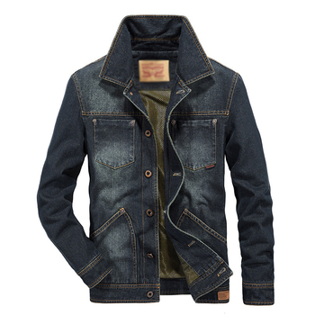Free Ship2018Fashion men denim jacket long sleeve turn down collar jeans coat outwear single breasted cowboy outfit denim tops