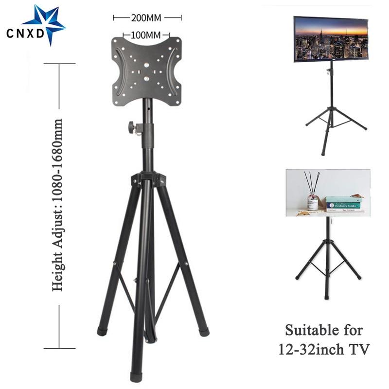 Support de TV Portable trépied de plancher support de TV Mobile de levage gratuit support d'affichage de montage pliant de rotation de 360 degrés pour TV de 12-32 pouces
