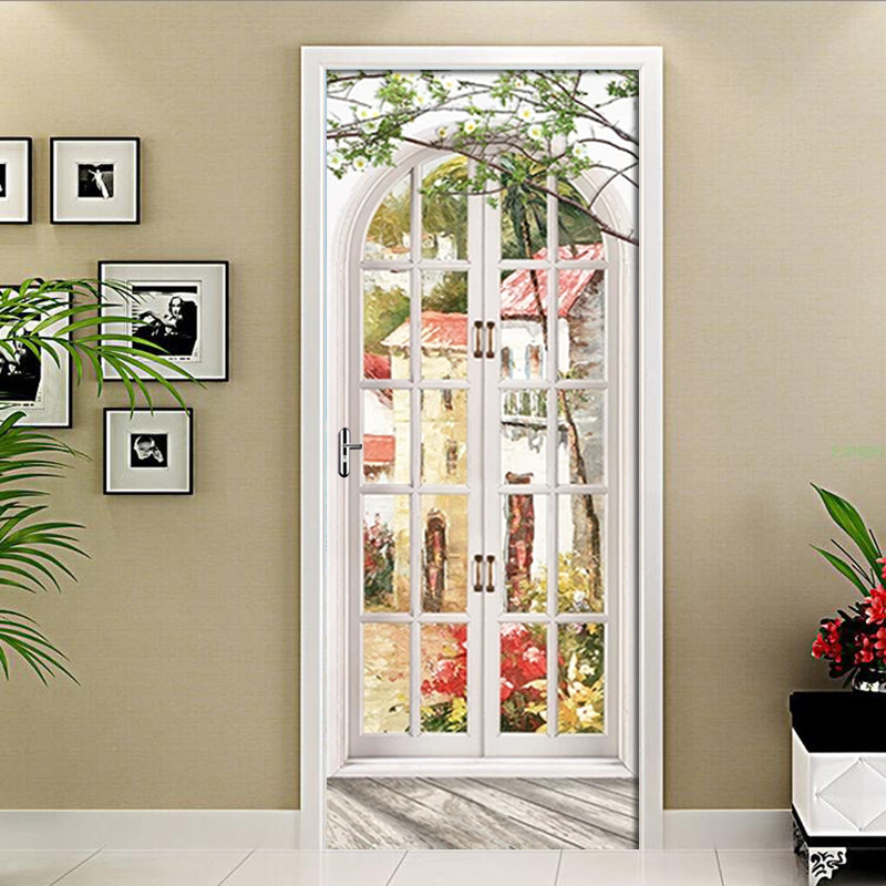 European Arch Oil Painting Landscape Wall Paper Door Sticker For Living Room Bedroom PVC Self-adhesive Door Mural Creative Decal