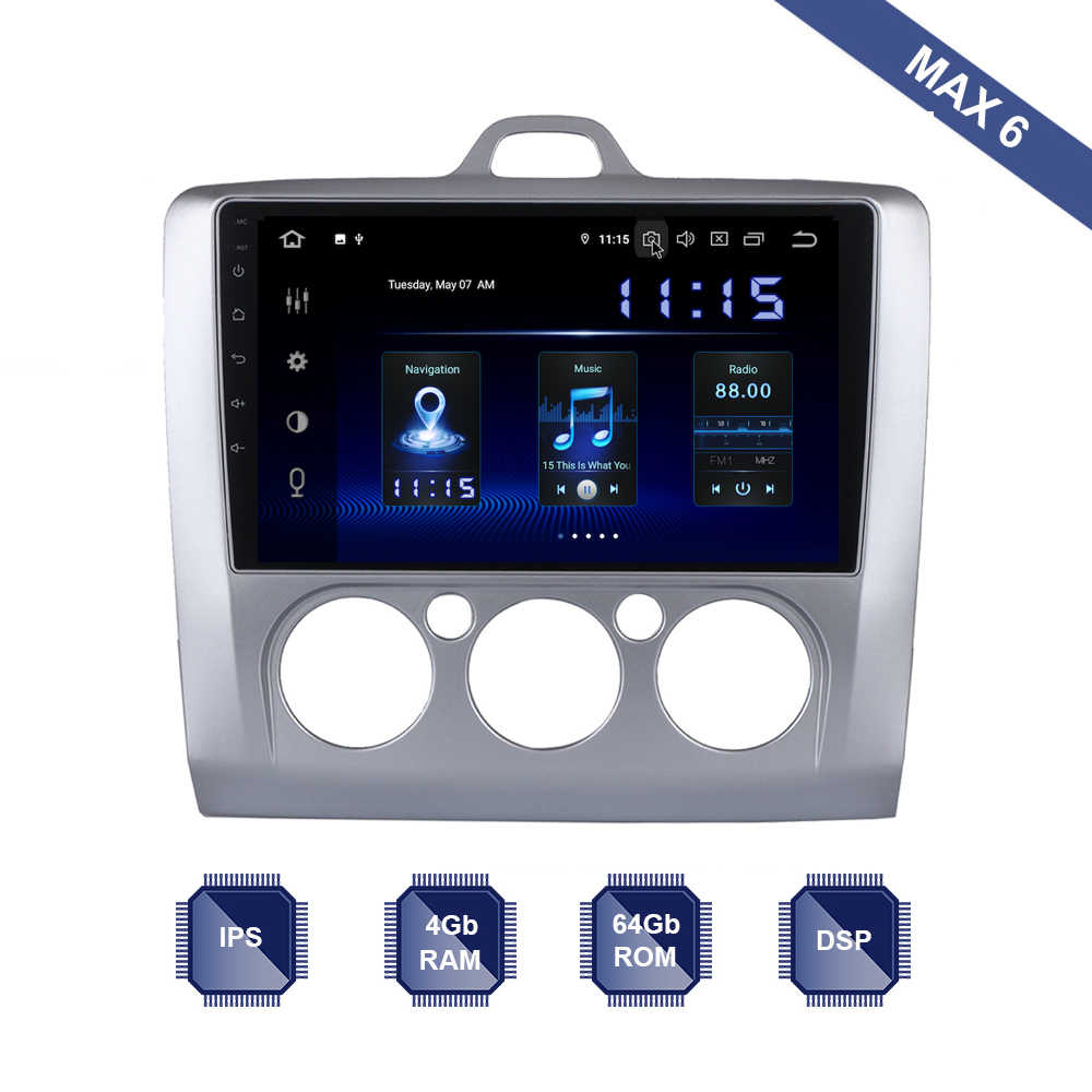 Android 9.0 Auto Radio 2 Din GPS Navi voor Ford Focus 2 3 Mk2/Mk3 Auto/Manual AC multimedia PX6 DSP IPS 4Gb + 64Gb RDS WIFI BT