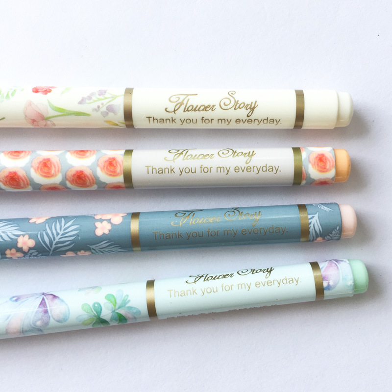 4 pcs/lot Warm Flowers Gel Pen Signature Pen Escolar Papelaria School Office Supply Promotional Gift 1 pcs novelty cute my neighbor totoro gel ink pens signature pen escolar papelaria office school supply promotional student gift