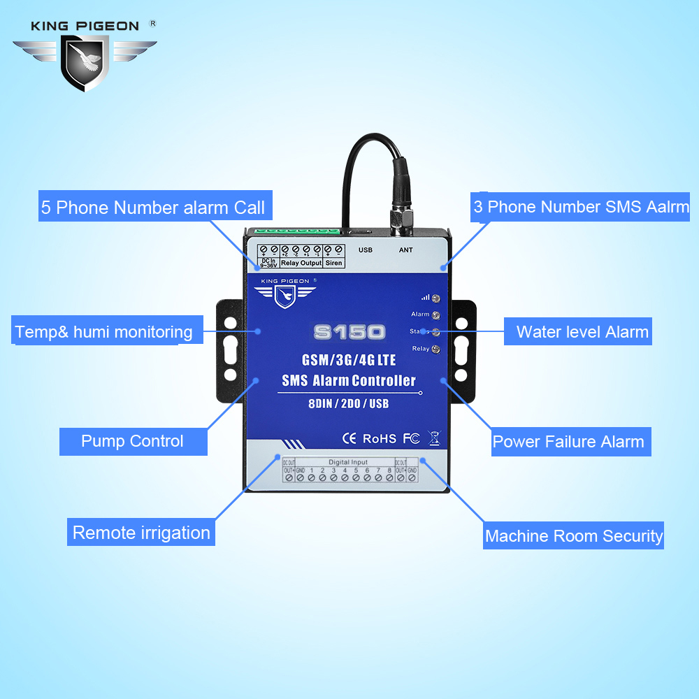 Image 4 - GSM Alarm 3G 4G Cellular RTU SMS Relay Switch Industrial IoT Remote Monitoring System in built watchdog 8DIN 2DO S150-in Alarm System Kits from Security & Protection