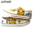 JUP 8 Styles Custom Low Style Despicable Me Minion Cat Fish Cartoon Hand Painted Canvas Flat Shoes for Men Males Boys Girls Man