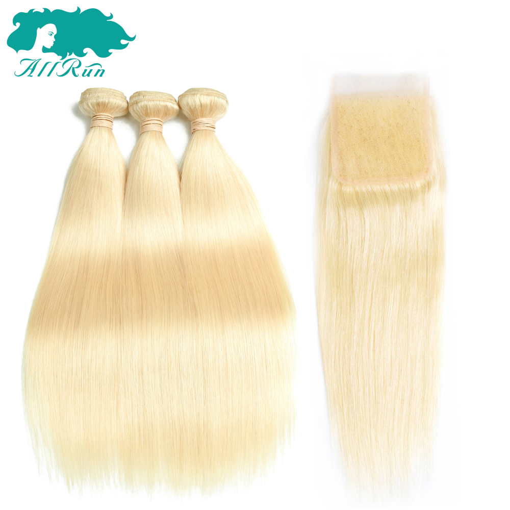 Allrun Pre-Colore 100% Human Hair 2/3 Bundles With Lace Closure 4x4 Non-Remy Malaysian Straight Hair #613 Silky
