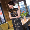 Charming Retro Women Satin Silk Cap Sleeve Cheongsam Chinese Traditional Wedding Evening Dress High-slit Long Black Qipao