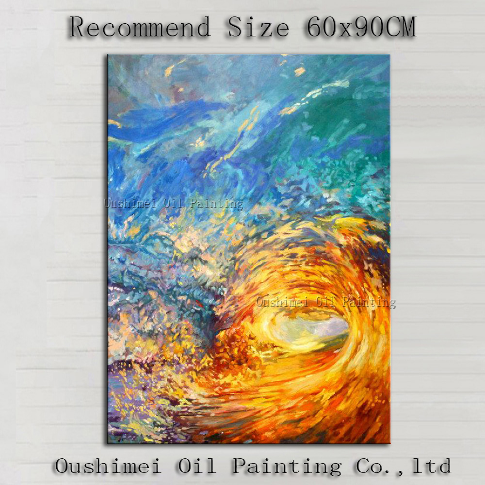 Abstract Seascape Cheap Oil Painting On Canvas Home Decor Modern Waves Scenery Handmade Wall Art Hand Painted Simple Painting